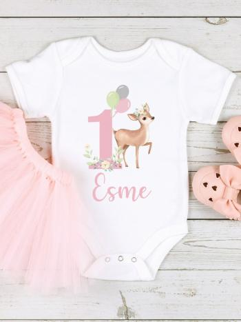 Deer 1st Birthday with Balloons Baby Girl Vest