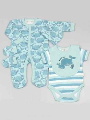 Big Blue Whales 5 Piece Baby Clothing Set