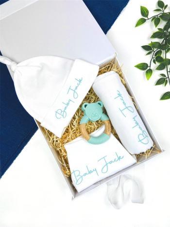 Hamper - Personalised Blue Teething Hamper