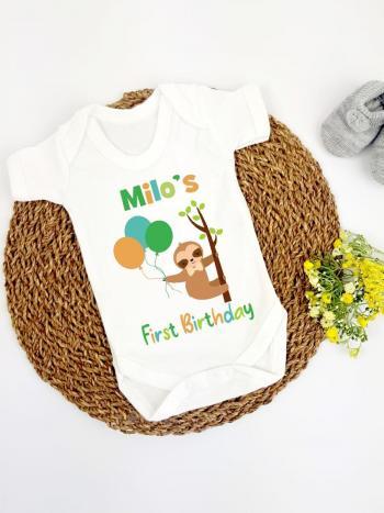 Sloth Balloons Birthday Unisex Baby Outfit (Vest Bodysuit)