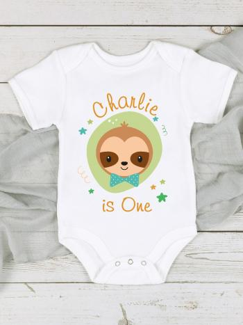 Sloth 1st Birthday Baby Vest Outfit