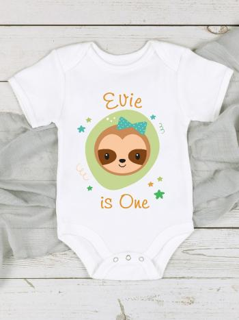 Sloth 1st Birthday Personalised Baby Vest: Hair Bow