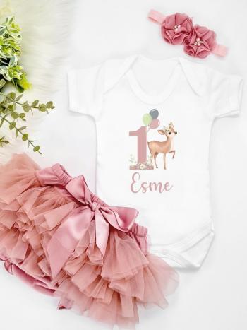 Deer Birthday Vest and Dusky Pink Tutu
